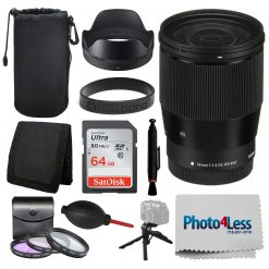 Sigma 16mm f/1.4 DC DN Contemporary Lens for Canon EF-M Bundle + Accessories