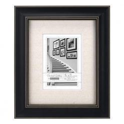 Malden International Designs Barnside Portrait Gallery Textured Mat Picture Frame,5x7/8x10, Black
