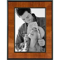 Malden International Designs Burl Wood Walnut Wooden Picture Frame with Black Border, 5x7, Walnut
