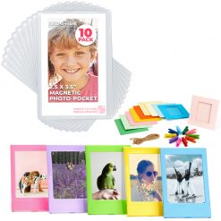 Freez-A-Frame Magnetic Photo Pockets For Fuji Mini Instax Photos (Wallet size) 10 Pack + Hanging Frames + Plastic Frames