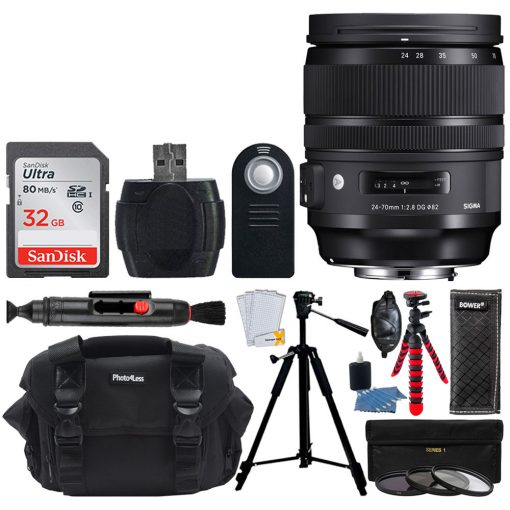 Sigma 24-70mm f/2.8 DG OS HSM Art Lens for Canon + 32GB Memory Card + Bundle