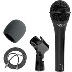 Audix OM7 Handheld Hypercardioid Dynamic Microphone + On Stage ASWS58B Foam Windscreen for Handheld Microphones + XLR Mic Cable XLR-M to XLR-F