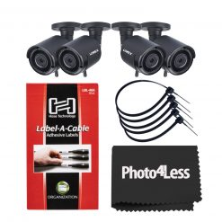"4 Lorex HD 1080p Outdoor Wireless Security Camera + 8"" Black UV Resistant Zip Ties+ Hosa Label A Cable Kit 60 Peel Off Labels"