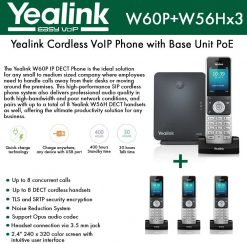 Yealink Wireless DECT Cordless Phone System( Handset and Base Station)+ 3 HD DECT Cordless VoIP Phones