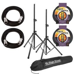 On Stage SSP7900 All Aluminum Speaker Stand Package with Bag With 2 Mic Cables 20 ft. XLR Bulk + 2 Instrument Cables, 10 ft.