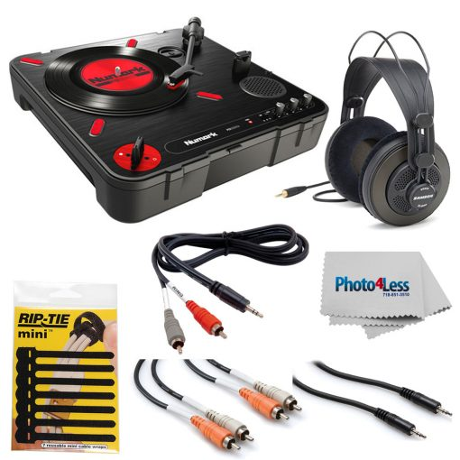 Numark PT01 Scratch Portable Turntable with DJ Scratch Switch + Samson Headphones + Cables + Rip-Tie + Cleaning Cloth