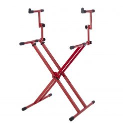 "Gator GFW-KEY-5100XRED Frameworks Heavy-Duty 2 Tier ""X"" Style Keyboard Stand with Rubberized Leveling Feet; Red Color"