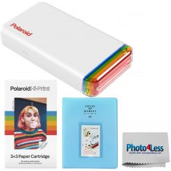 Polaroid Hi-Print 2x3 Pocket Photo Printer + Hi-Print - 2X3 Paper Cartridge 20 sheets + Light Blue Album + Cloth