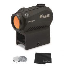 Sig Sauer ROMEO5 1X20 MM Compact Red Dot Sight + 2 Additional CR2032 batteries and Lens Cleaning Cloth