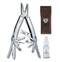 Victorinox Swiss Army Swisstool Spirit X Multi-Tool Stainless Steel with Leather Pouch and Multitool Oil