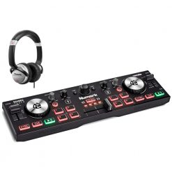 Numark Professional DJ2GO2 Touch Pocket DJ Controller with Capacitive Touch Jog Wheels + HF125 Professional DJ Headphones