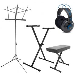 On-Stage Stands Keyboard Stand and Bench Pak + Music Stand w/Detachable Bookplate and Bag + Studio Headphones